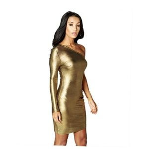 *New*Metallic Gold One shoulder Dress